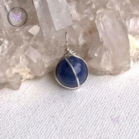 Blue Aventurine Silver Wire Sphere Pendant
